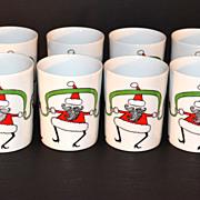 1980s Fitz and Floyd ~ Set of 8 Variations Dancing Santa Mugs w/ Box