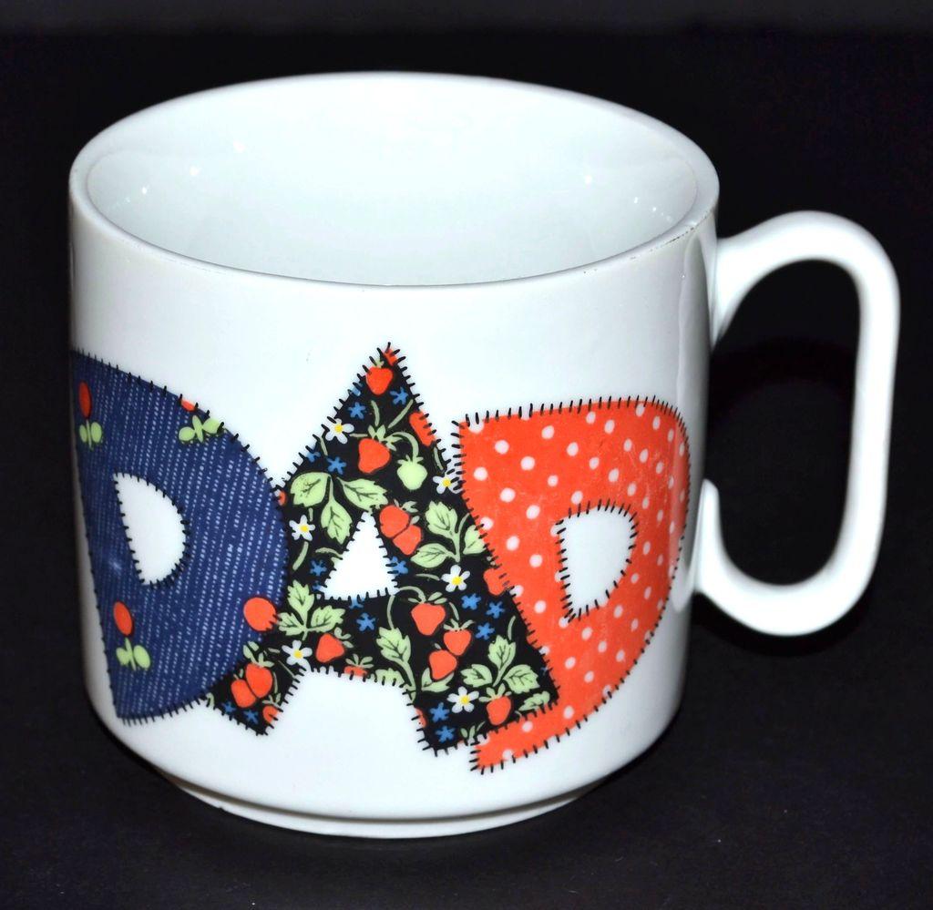 VTG Patchwork Style Dad Ceramic Pottery Mug