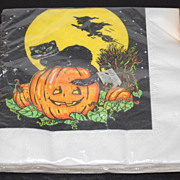 SALE Set of Black Cat on Jack-o-Lantern w/ Flying Witch Napkins