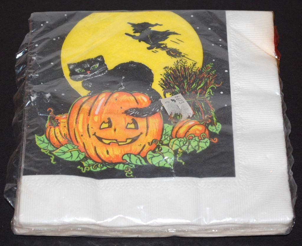 Set of Black Cat on Jack-o-Lantern w/ Flying Witch Napkins