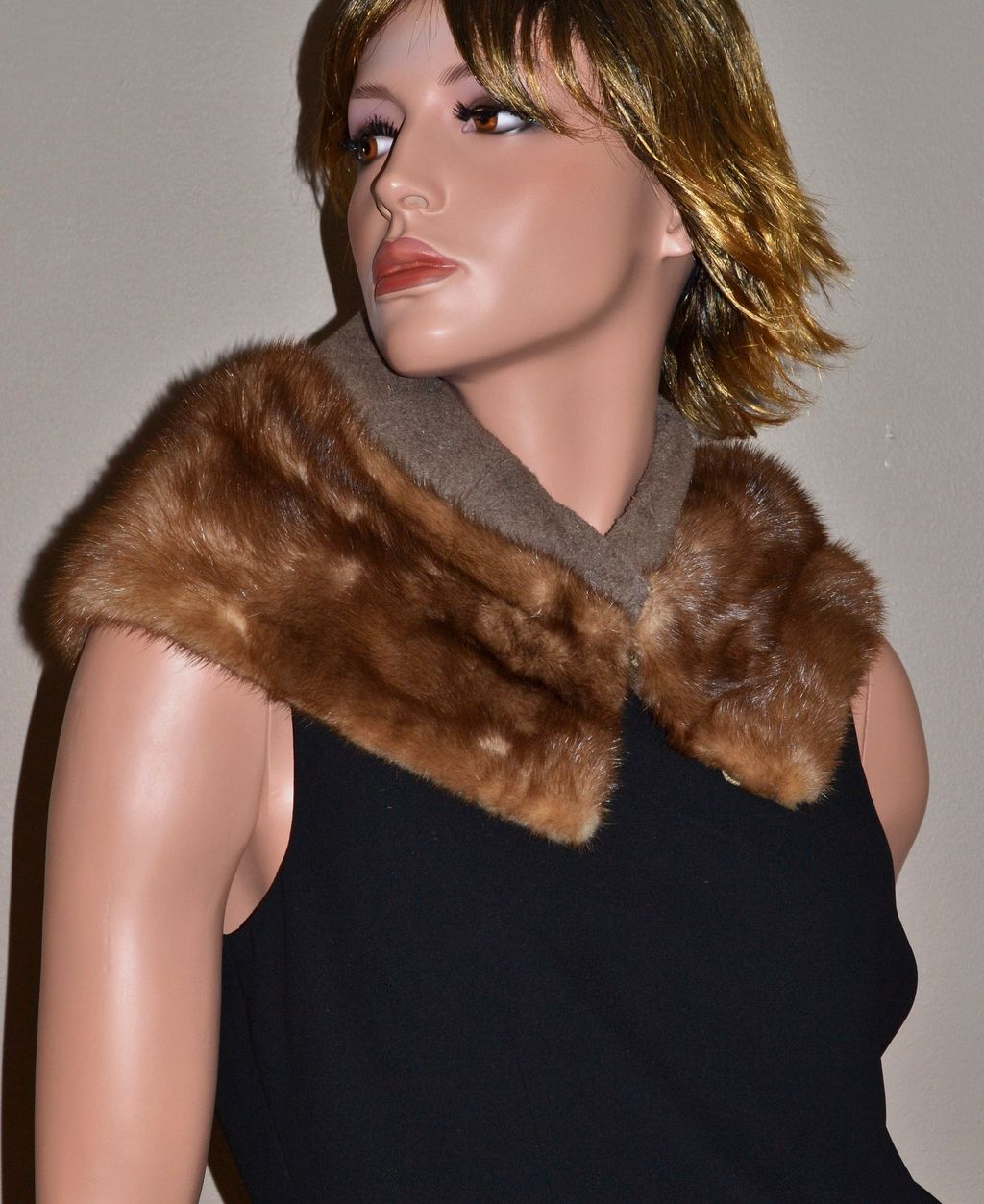 1940/50s Genuine Brown Mink Fur Collar Stole