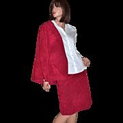 SALE 1970s Adolph Schuman for Lilli Ann ~ 2-Pc Christmas Red Blazer & Skirt