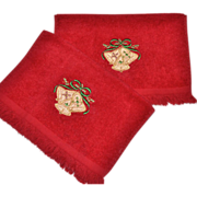 SALE Cannon Set of 2 Christmas Bell Red Embroidery Fingertip Towels