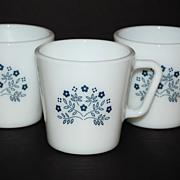 SALE 1983 Pyrex Summer Impressions ~ Set of 3 Milk Glass Mugs