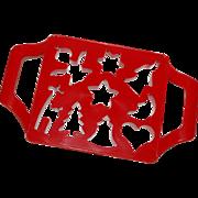 SALE 1983 UK Design Red Hard Plastic Cookie Cutter Press