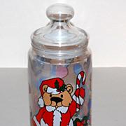 1970/80s Christmas Teddy Bear Candy Jar ~ Made in France