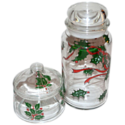 Set of 2 Christmas Holly Glass Candy Jars