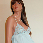 1970s Taryn Alexander ~ Turquoise Blue Nylon & Lace Maxi Nightgown