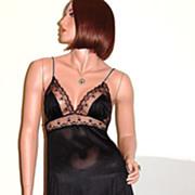 1960/70s Kayser ~ Black Chiffon & Lace Peignoir & Nightgown Set
