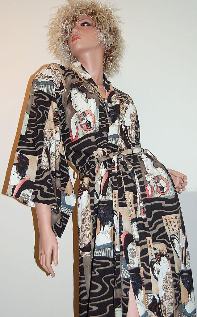 Diamond Tea ~ Asian Ukiyo-e Inspired Kimono Style Robe