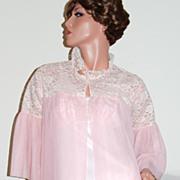 1950/60s Mary Barron ~ Long Pink Double Chiffon & Lace Robe
