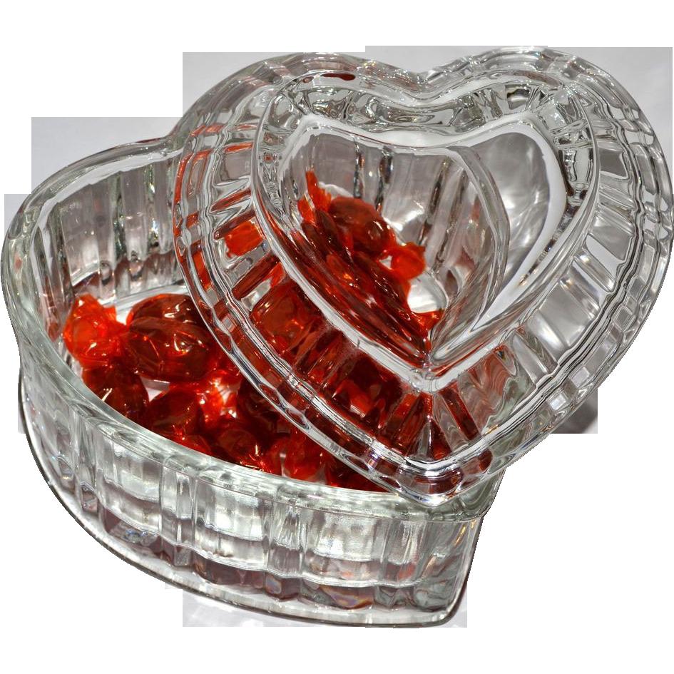 Heavy Lead Crystal Glass Heart Candy Jar w/ Lid