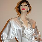 1980s Victoria's Secret ~ Satin Pearl & Silver Long Lace Robe