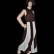 1960s Fred Rothschild ~ ILGWU Chocolate Swirl Maxi Dress