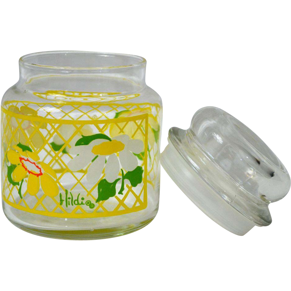 1970s Anchor Hocking ~ Signed Hildi Yellow Daisy Candy Jar ~ 2 Available