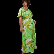 1970s Hawaii Nei ~ Light Green Floral Maxi Dress