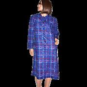 1970s Lady Blair ~ ILGWU Paint Striped-Plaid Blue Casual Dress