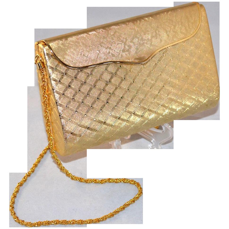 1950/60s Montaldo's For Walborg ~ Hard Case Goldtone Purse
