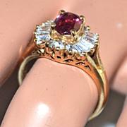 1950s Sterling Vermeil Pink Cubic Zirconia Starburst Ring