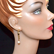 1970s Faux White Pearl w/ Goldtone Hoop Earrings