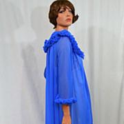 1960s ILGWU Royal Blue Chiffon Maxi Peignoir Robe