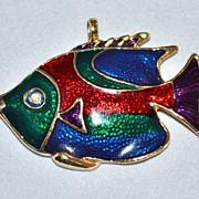 SALE Large & Colorful Enamel Fish Pendant