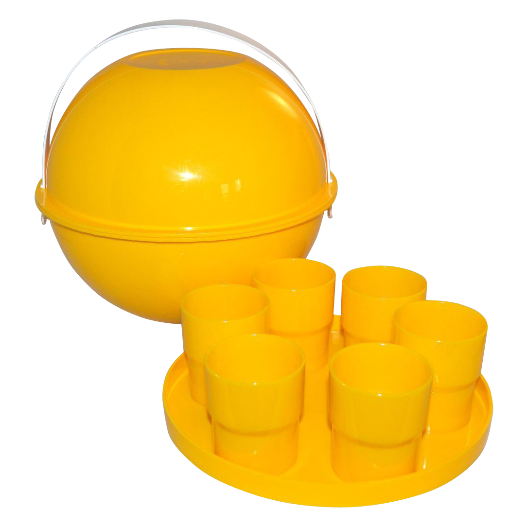 Ingrid ~ 26-Pc Atomic Yellow Picnic Basket Carrier w/ Accessories