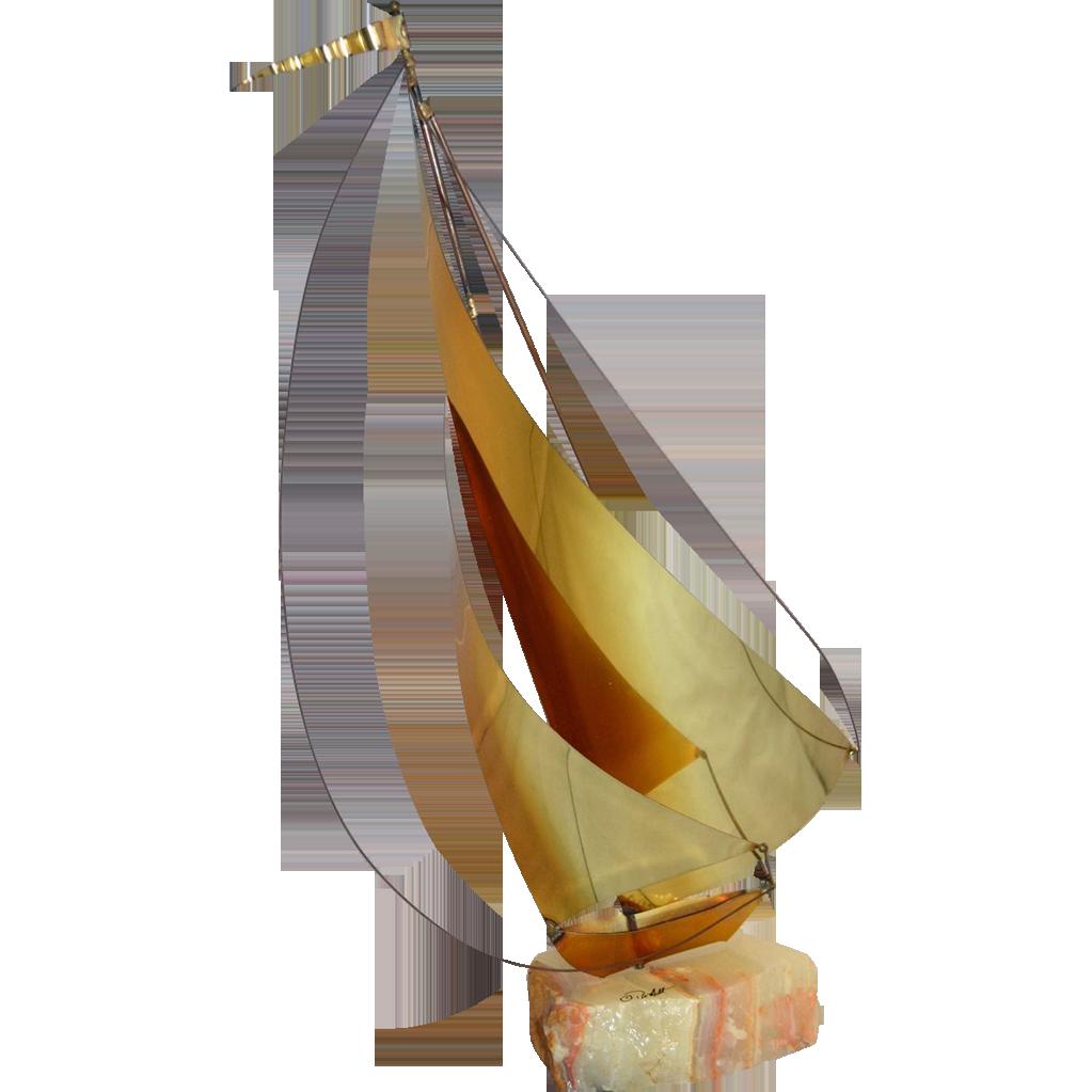 DeMott ~ Brass Sailboat Sculpture w/ Onyx Base