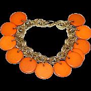 Pumpkin Orange Lucite Disc Dangle Bracelet