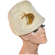 1930/40s Mister T ~ Cream White Wool w/ Feather Hat