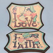Homco ~ Set of 2 Love & Faith Boy/Girl Wall Plaques