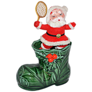 1970s Lefton ~ Green Christmas Boot w/ Red Flocked Santa