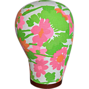 1960s Pink & Orange Flower Power Fabric Mannequin Head