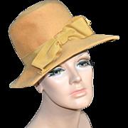 1960s Glenover/Henry Pollack ~ Mustard Gold Wool Square Brim Hat