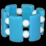 Chunky Caribbean Blue Lucite Stretch Bracelet