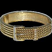 Victorian-Inspired Buckle Rhinestone Clamper Bracelet
