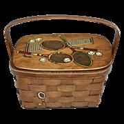 1960s Pogue's ~ Caro-Nan Signed Tennis Inspired Painted Wood Basketweave Box Purse