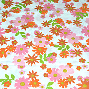 SOLD 1960s Perma-Prest ~ Perky Pink & Orange Flower Pillowcase