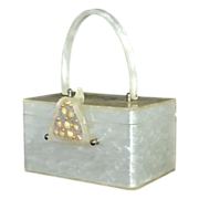 1950s Wilardy ~ Pearly White Lucite Beach Inspired Seashell Box Purse