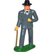 SALE 1930s Barclay ~ Elderly Man w/ Walking Cane Lead Toy Figurine