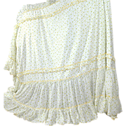 1960s Amazing Yellow Rose Ruffled Twin Lined Bedspread ~ 2 Available!
