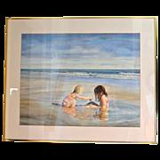 """SALE Huge 34"""" Original Watercolor 'Sea Side Sisters' by Artist Susan Marion Framed Painti"""