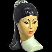 1965 Marwal ~ Beautiful Asian Girl Ceramic Bust Sculpture