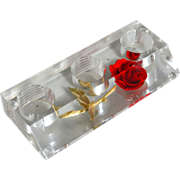 1960s Red Rose in Lucite Lipstick Holder