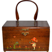 1960s Holly Hobbie Inspired Decoupage Wood Box Purse w/ Lucite Handle