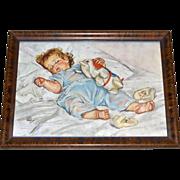 SALE 1920s Maud Tousey Fangel ~ Sleeping Baby Print in Tiger Oak Frame
