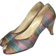 1960s Mr. J. Andre ~ Striped Lilac & Blue Boucle Fabric Peep Toe Heels