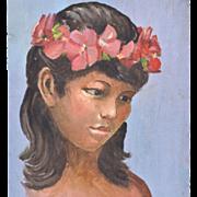 1950s Hawaiian Girl Original Oil on Board Painting