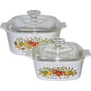 SALE 1970s Corning Ware ~ 3 QT & 1.5 QT Spice of Life Covered Cookware/Casserole Dish Set