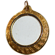 SALE Round Glass Locket Goldtone Pendant/Charm